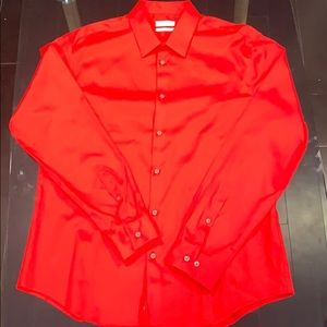 Red Calvin Klein button down